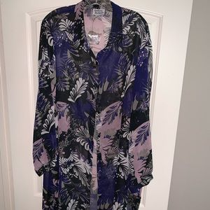 Anthony Richards Sz 24W Printed Button-Front Tunic